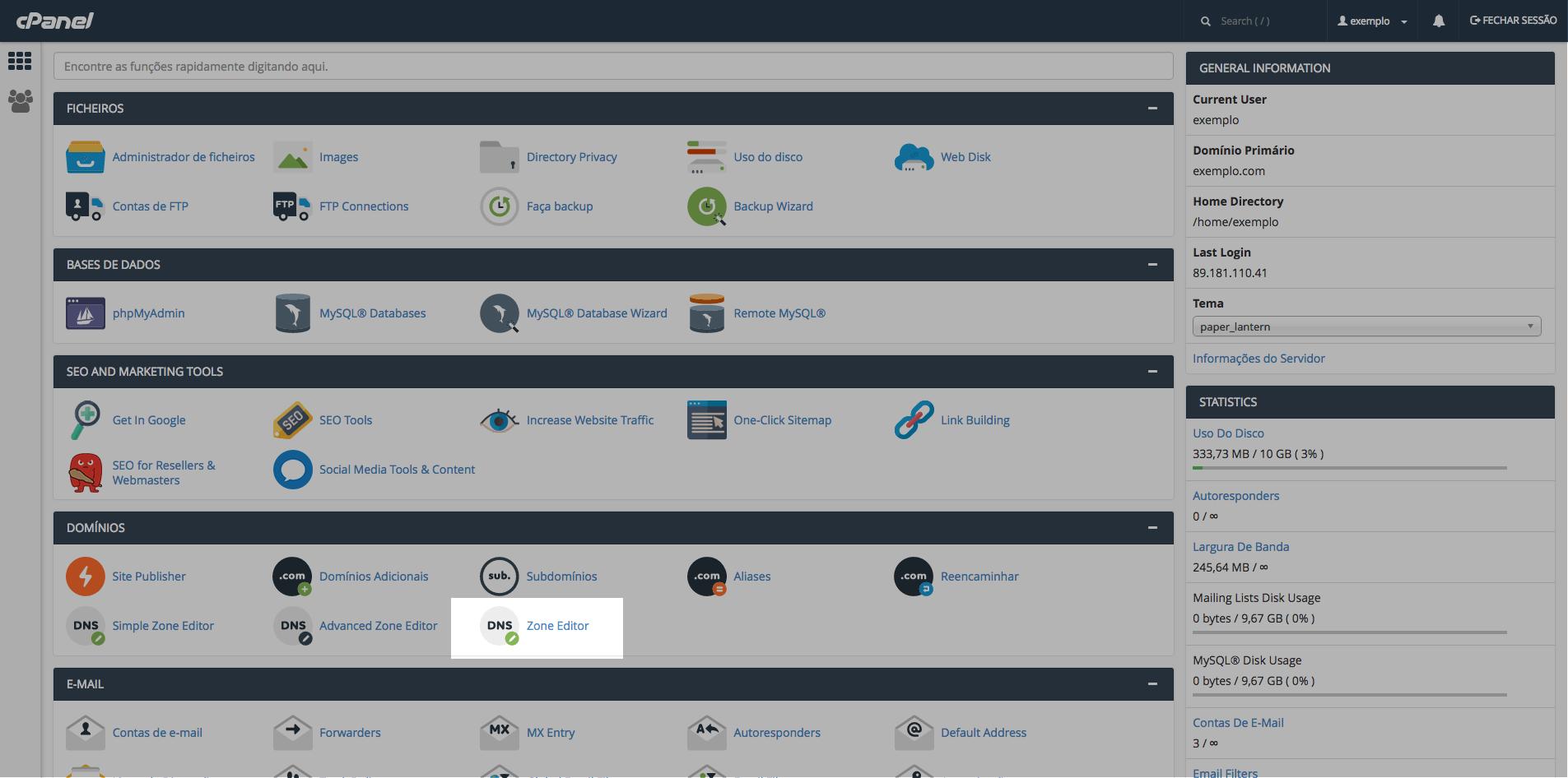 Configurar domínio no cPanel