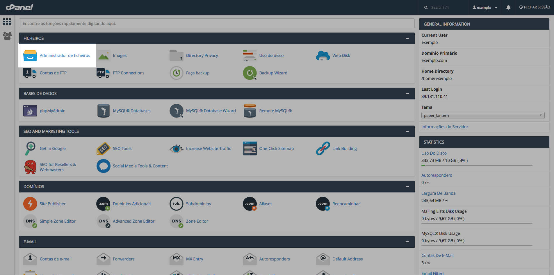 Configurar dominio o cPanel