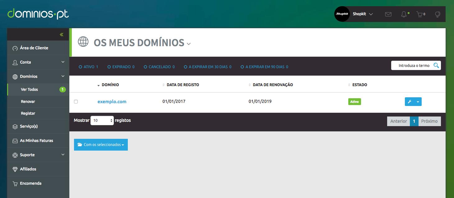 Configurar domínio na Dominios.PT