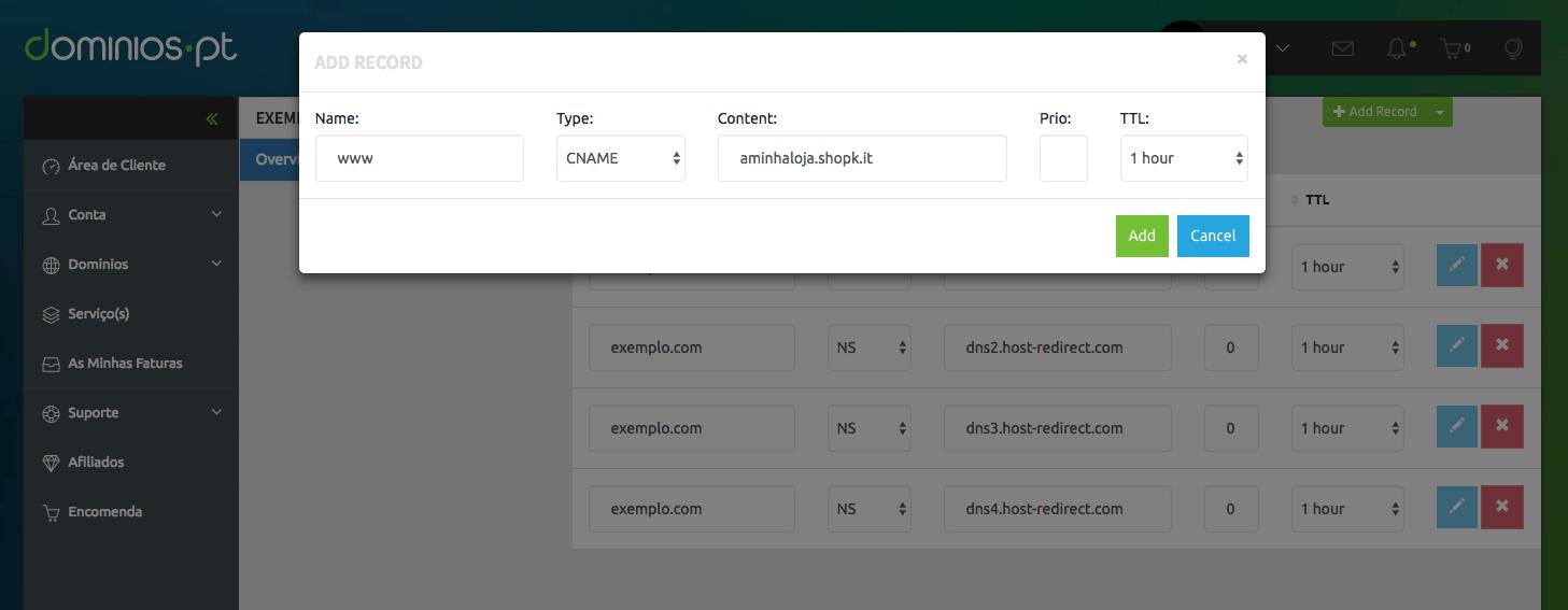 Configurar dominio na Dominios.PT