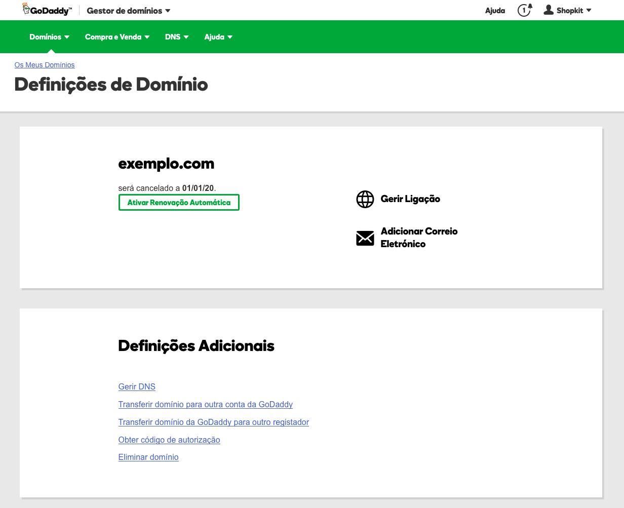 Configurar domínio na GoDaddy