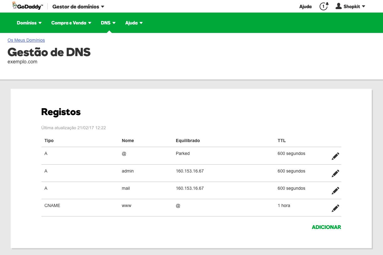 Configurar dominio na GoDaddy