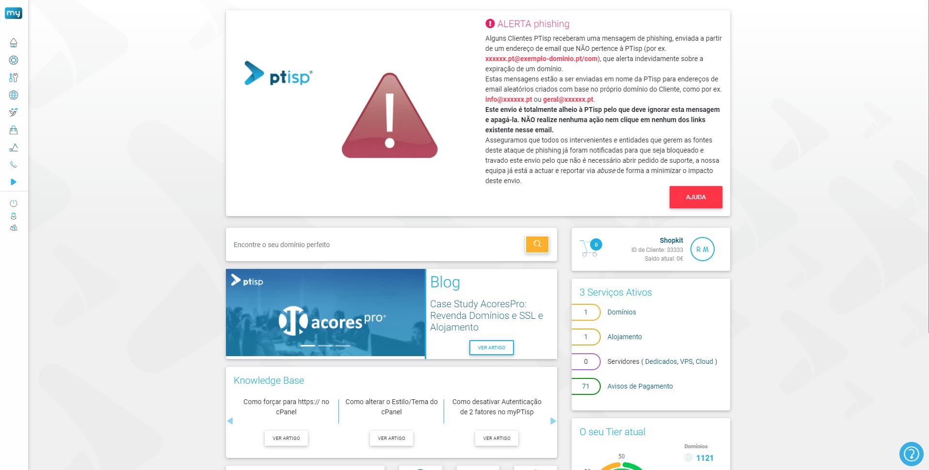 Configurar dominio na PTisp