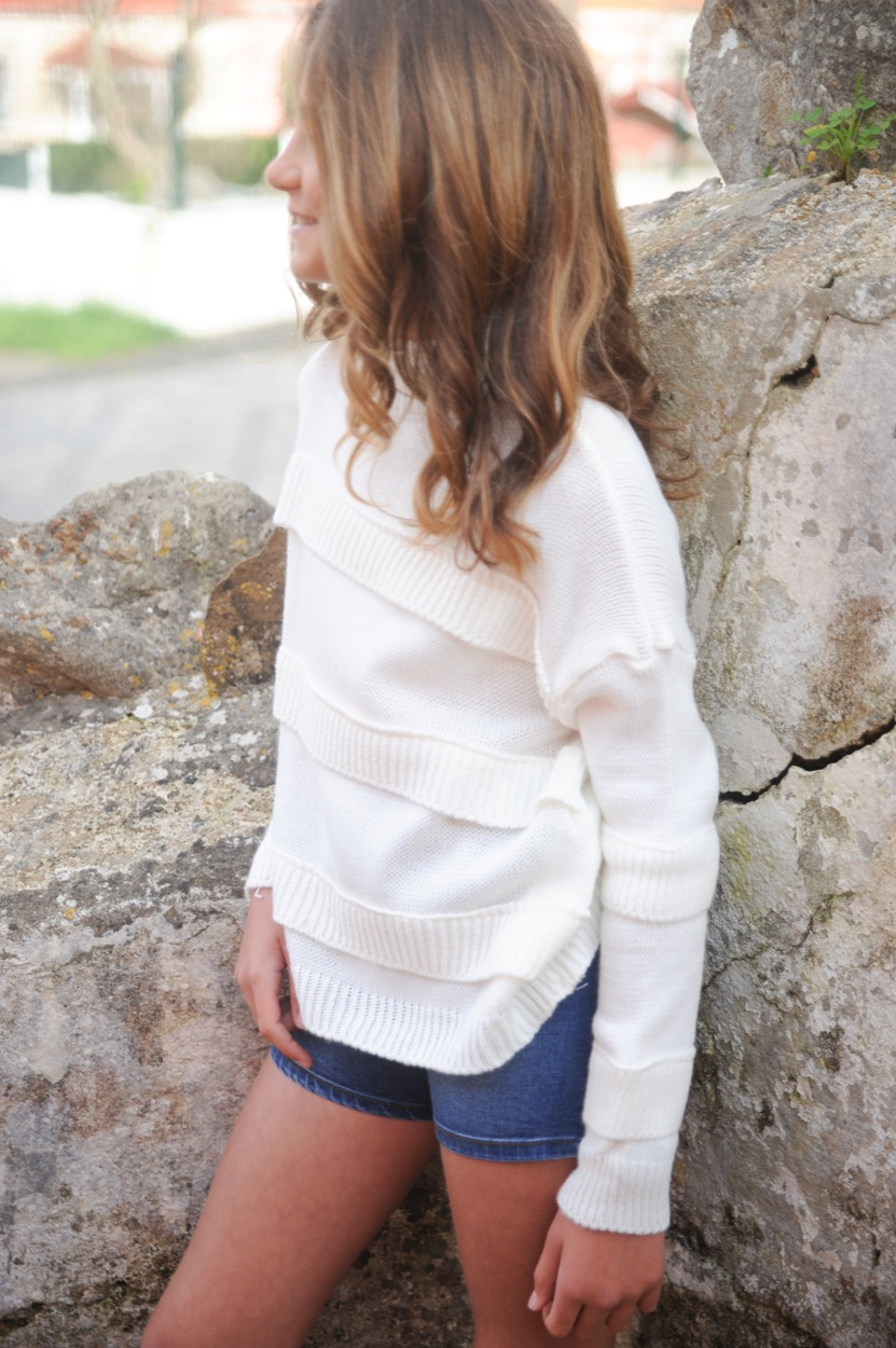 camisola riscas de malha branca