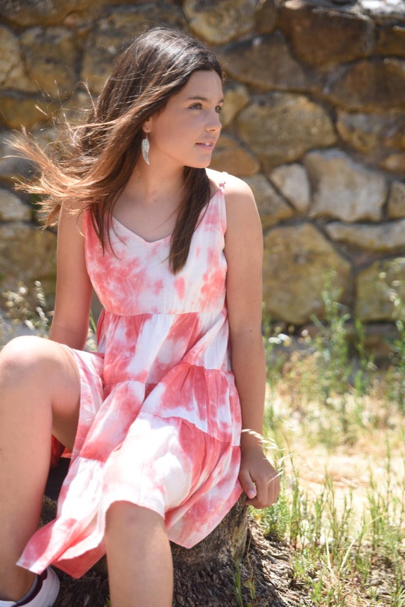 vestido coral manchado