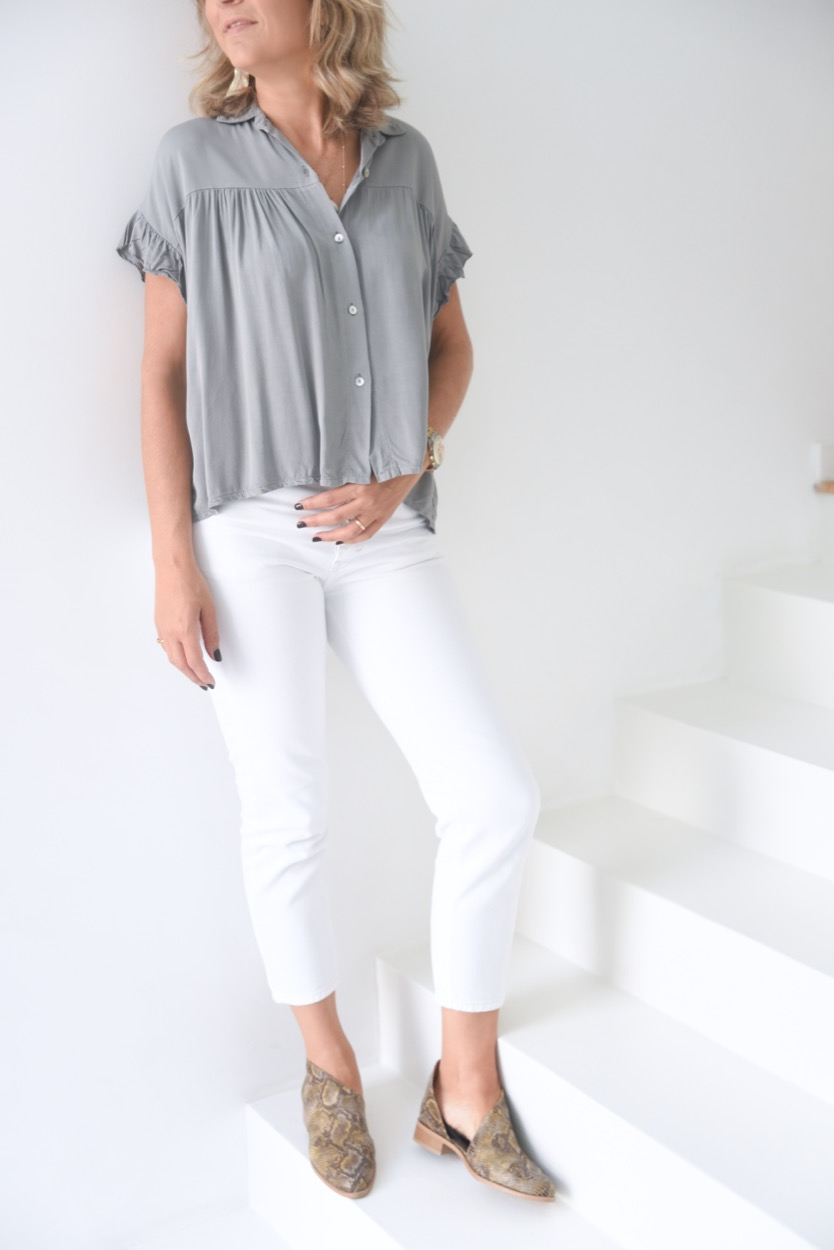 camisa folho manga cinza