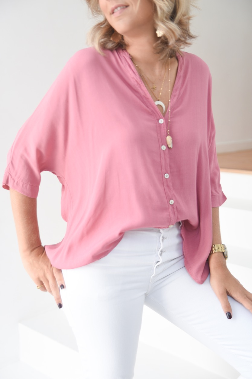 blusa lisa rosa