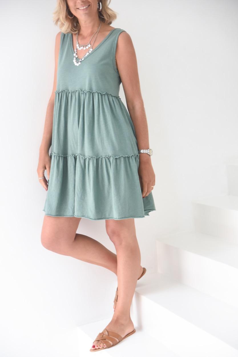 vestido algodão camadas