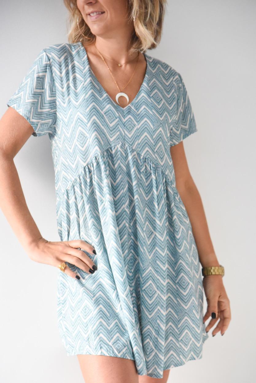 vestido espinha azul agua