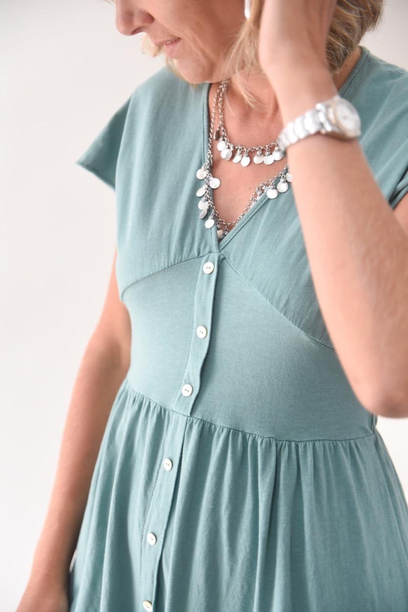 vestido algodão botões