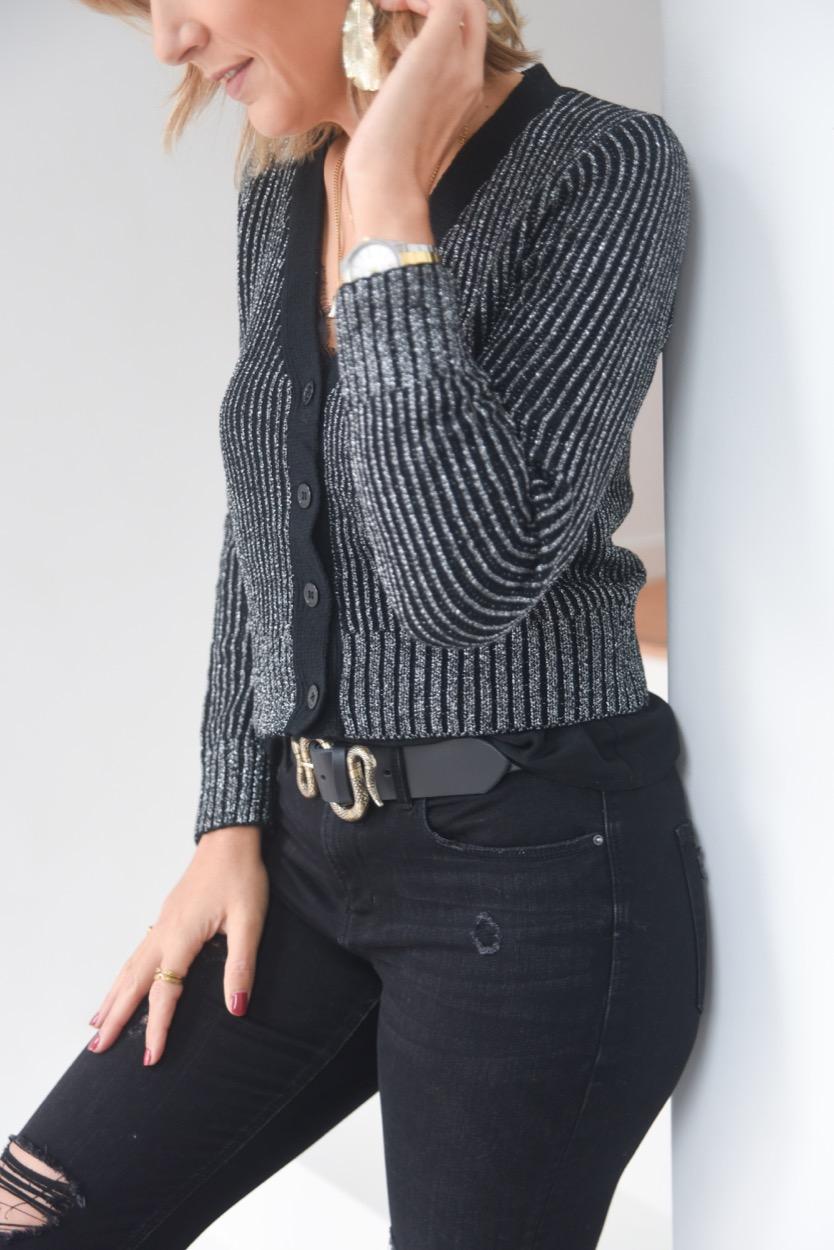 casaco preto & prata