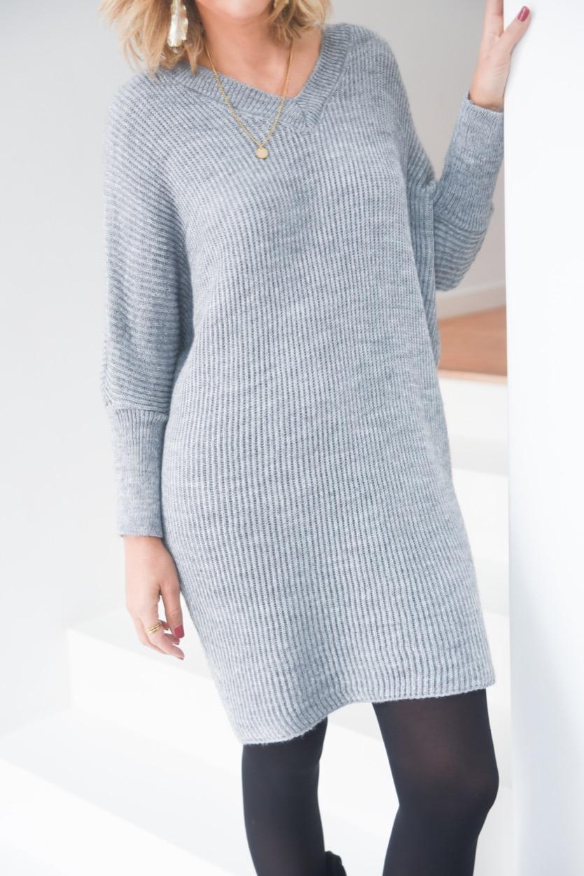 vestido lã cinza