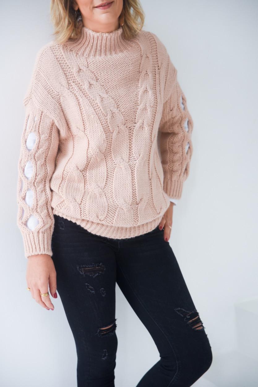 camisola rosa tranças