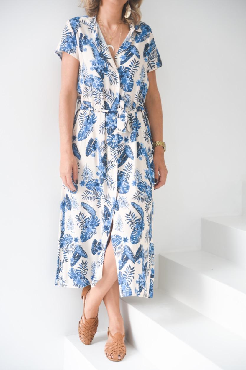vestido camisa flores azul