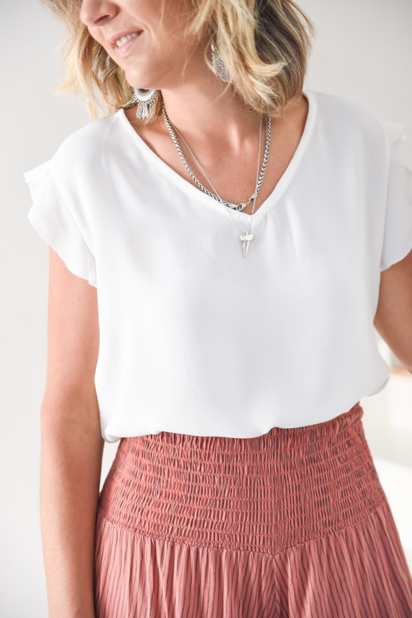 blusa branca manga folho