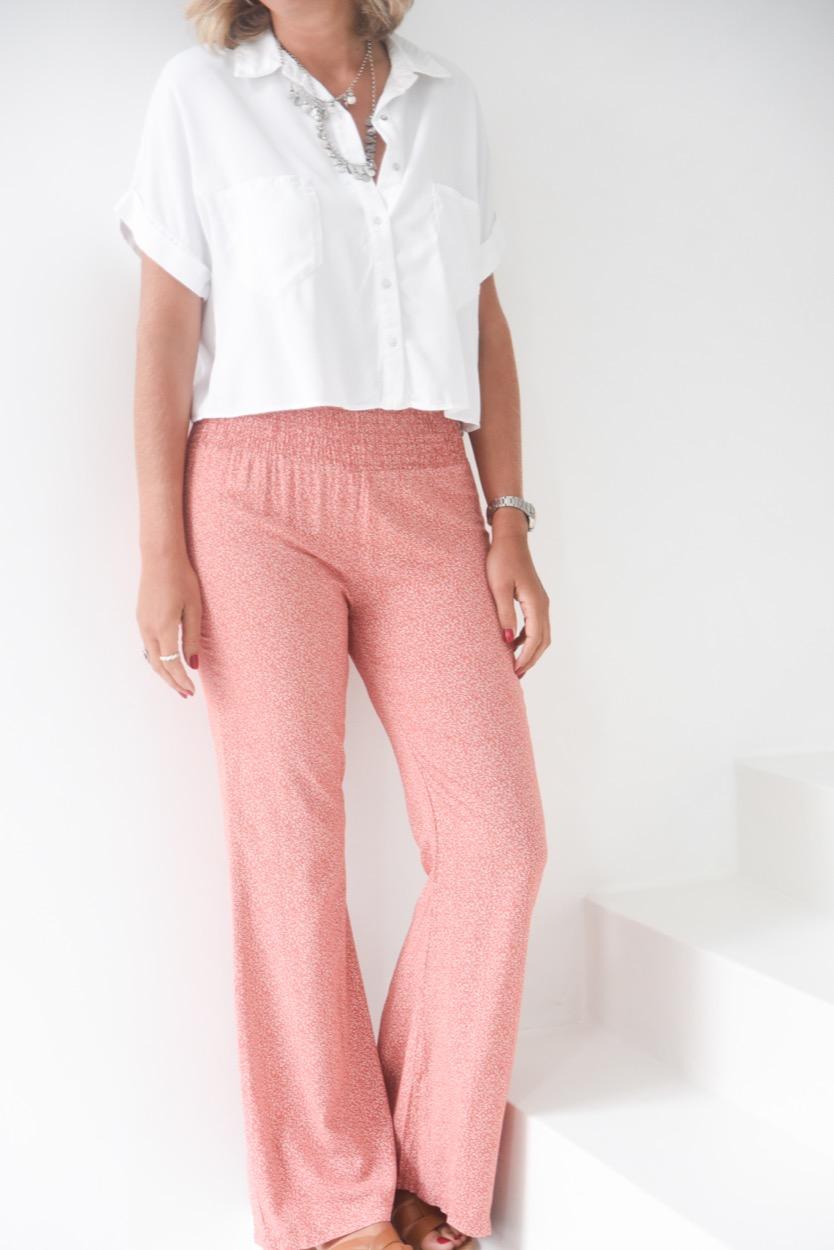 calças elastico cintura folhas