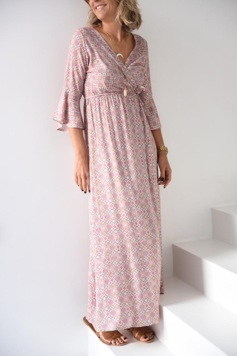 vestido comprido cinza/rosa