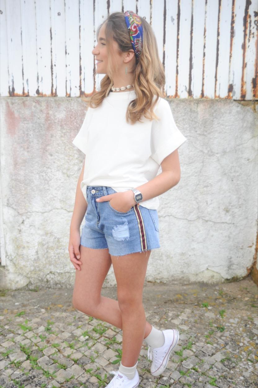 calção jeans fita lateral