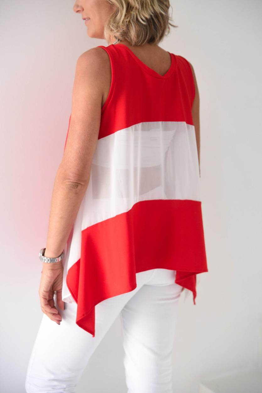 túnica encarnada costas transparentes