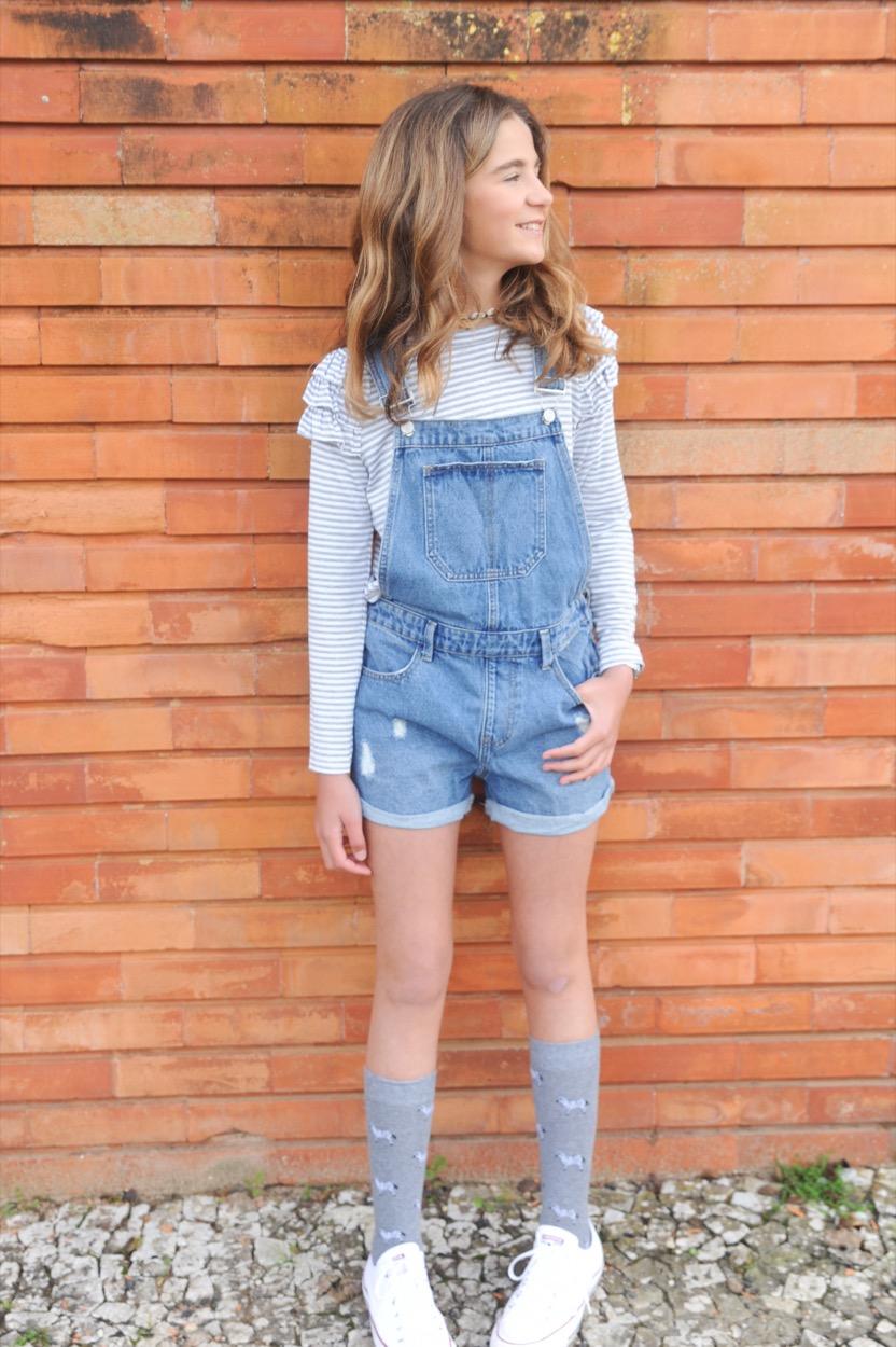 jardineiras jeans calção