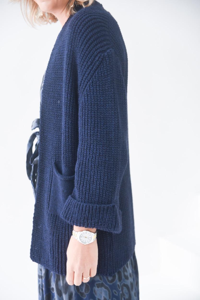 casaco lã azul bolsos