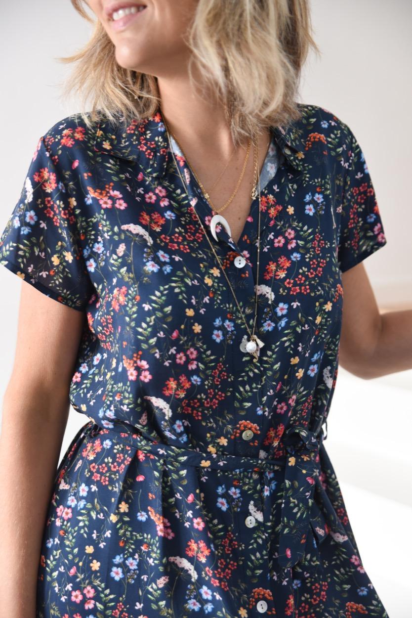 vestido comp azul flores