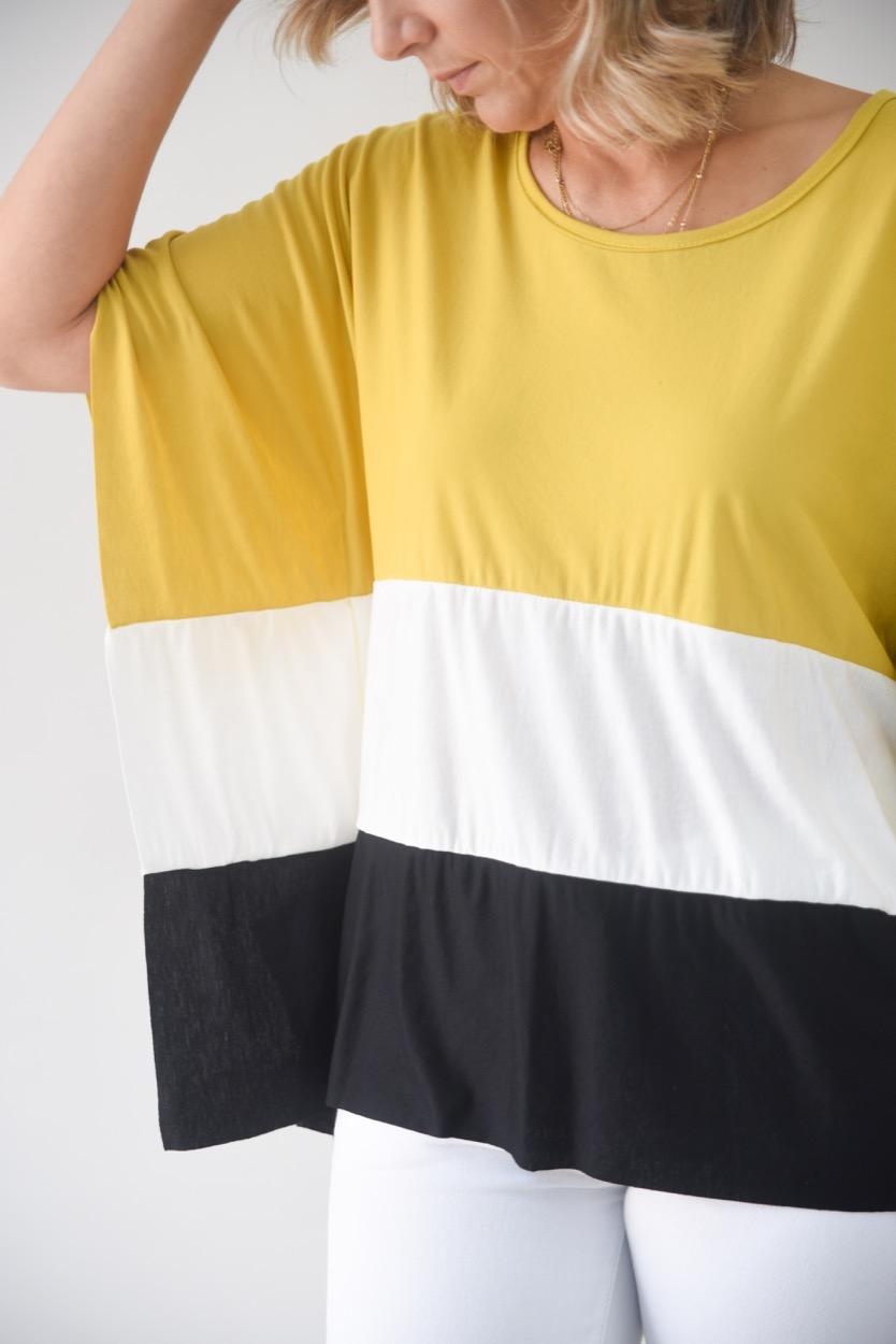 blusa mostarda/branco/preto