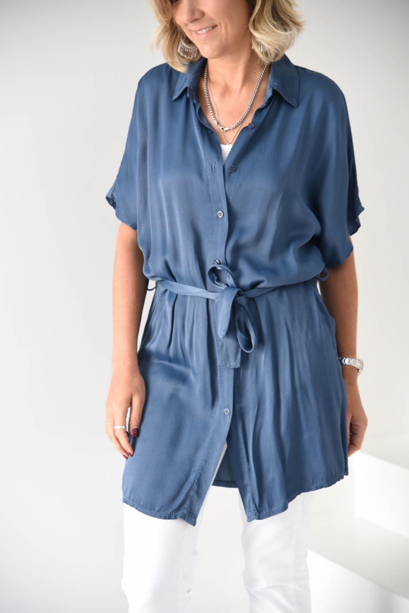 túnica camisa cetim azul