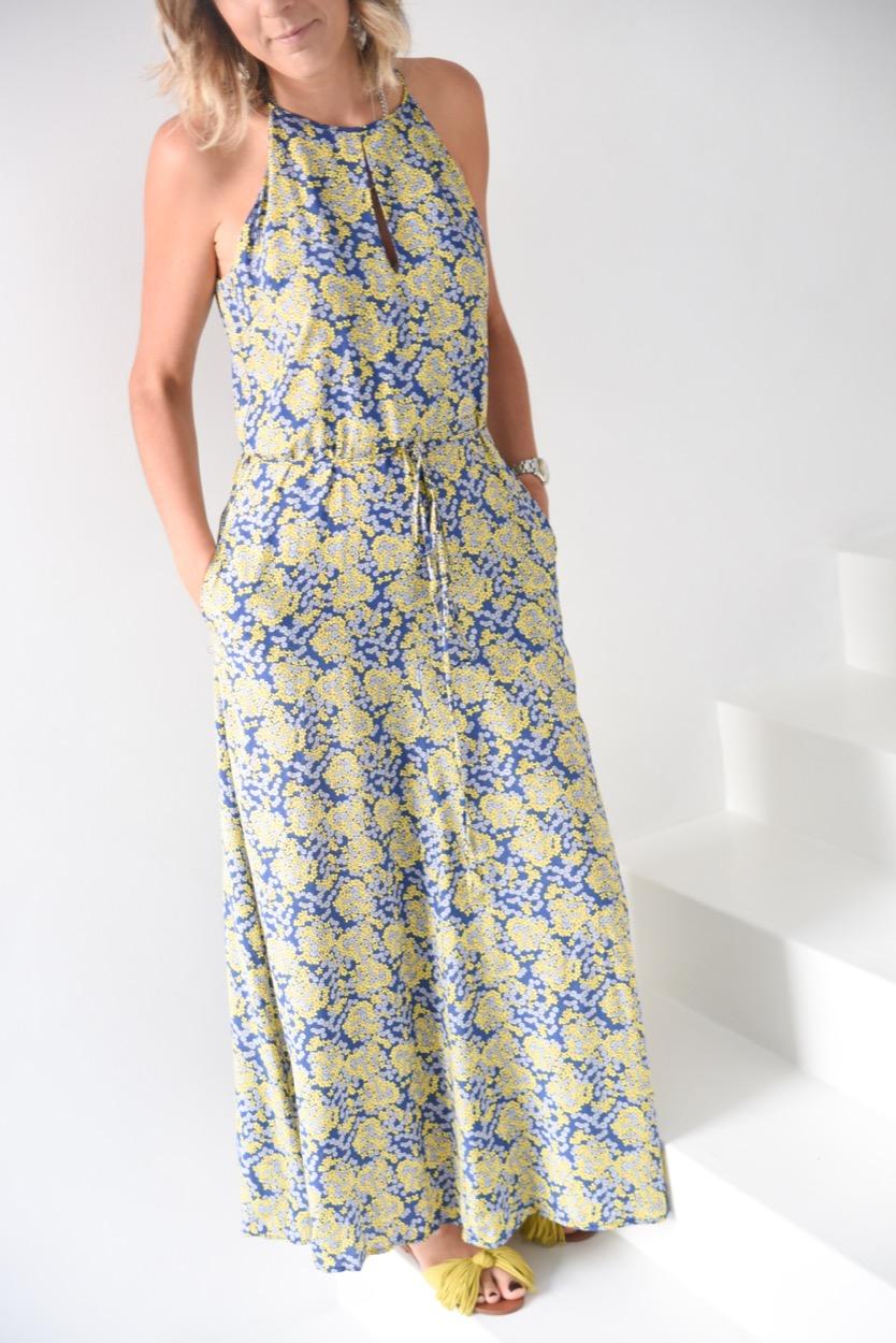 vestido comp azul e amarelo