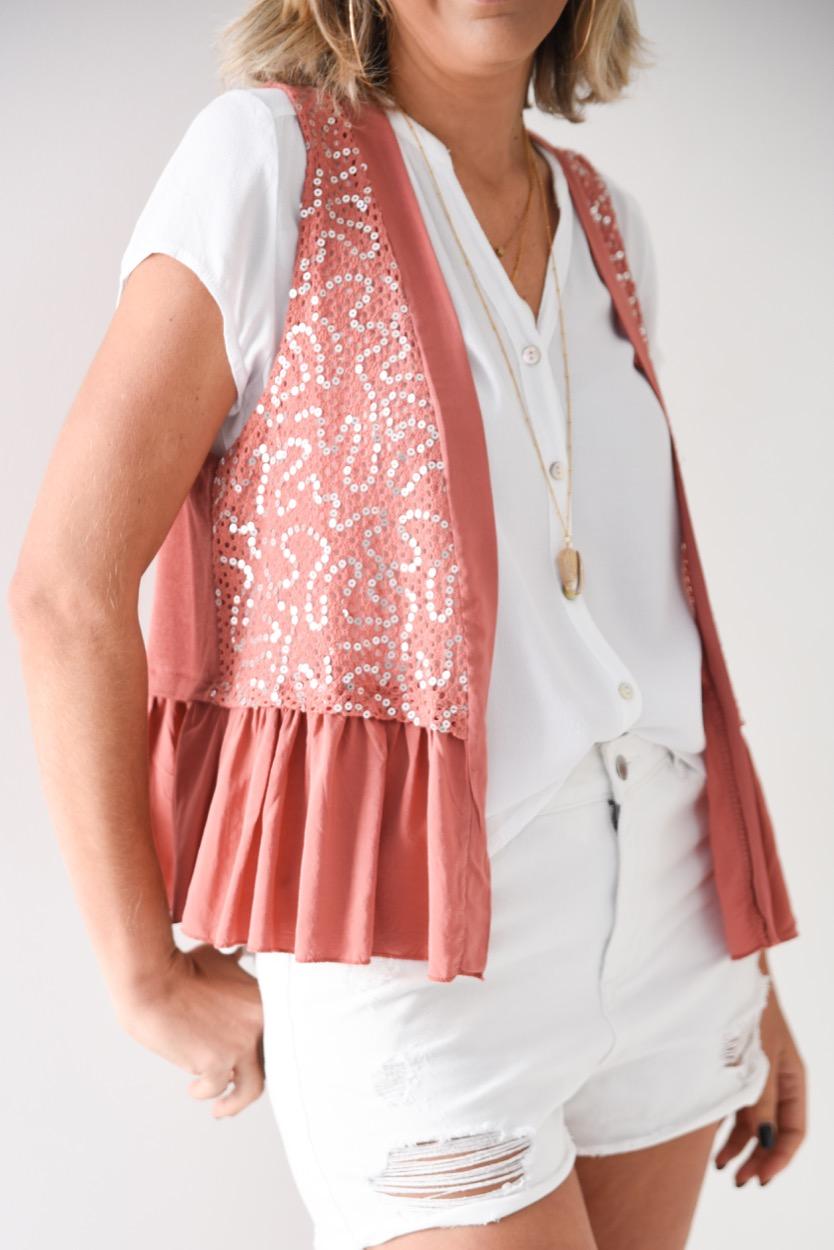 colete rosa lantejoulas