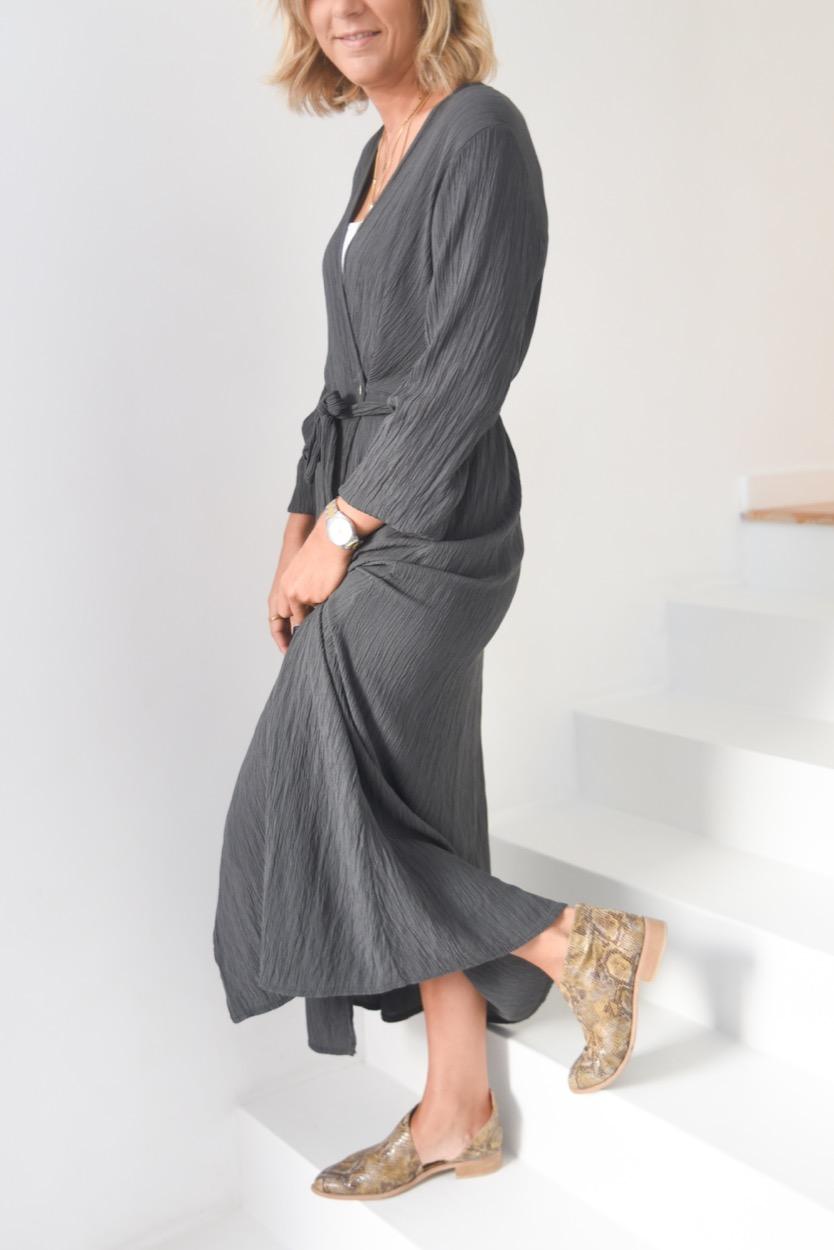 vestido comprido enrugado