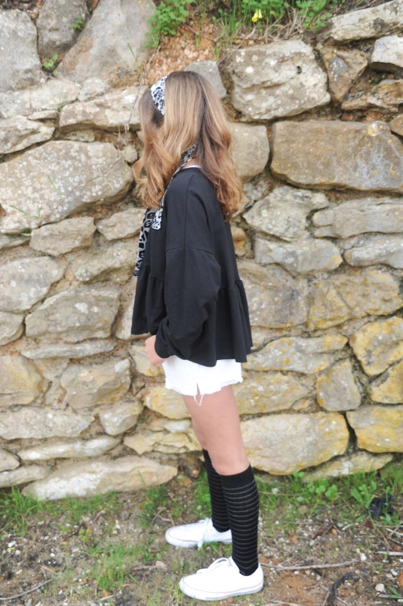 sweatshirt folho baixo preta