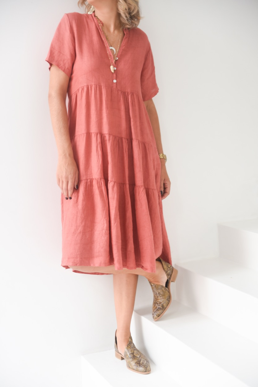 vestido linho terracota
