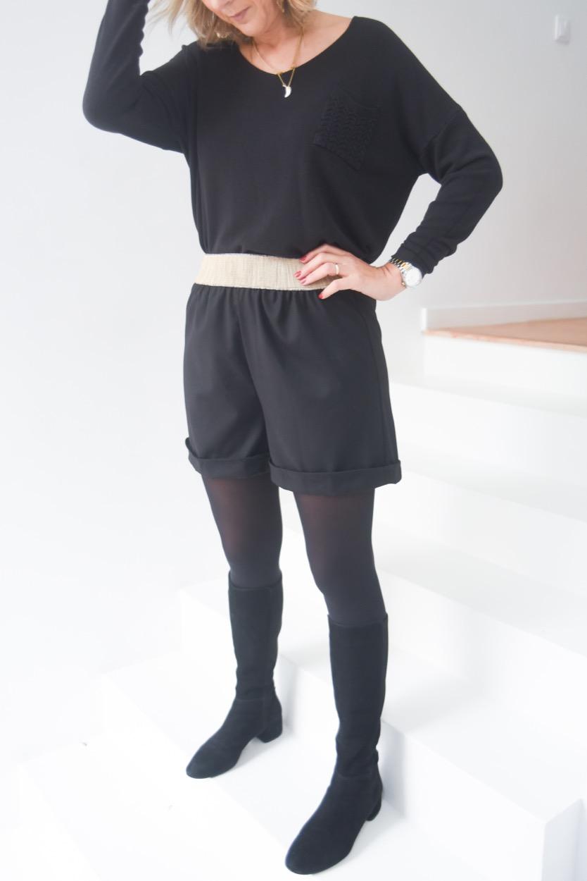 calções pretos efeito rafia cintura