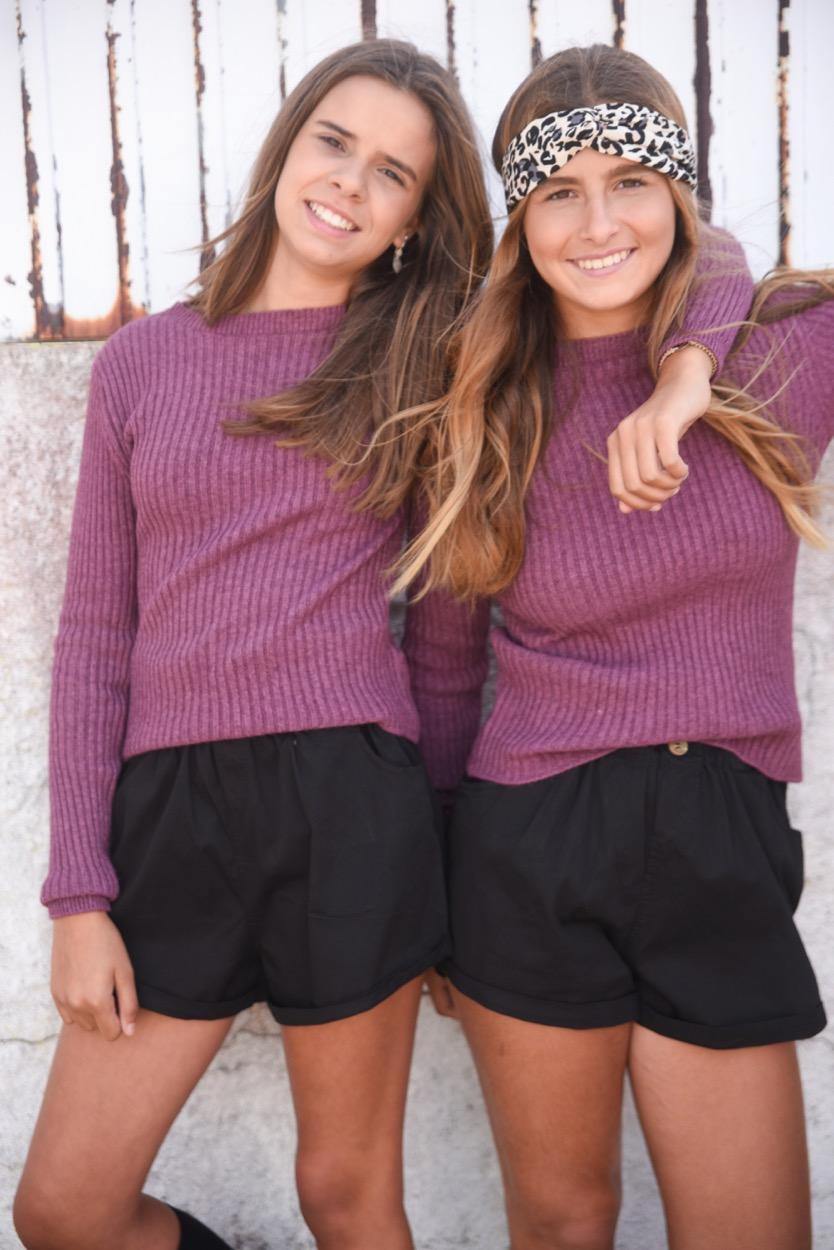 camisola violeta canelada