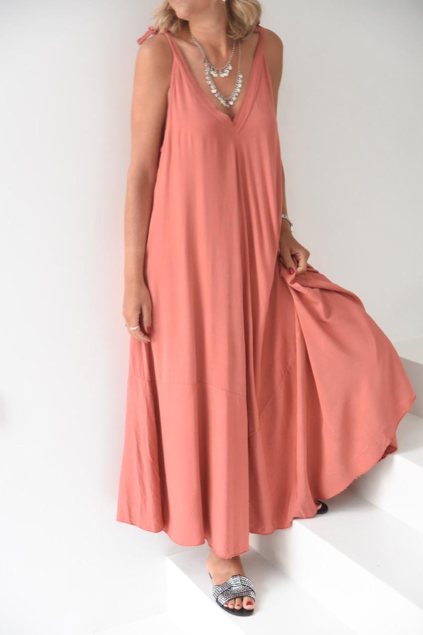 vestido terracota alças