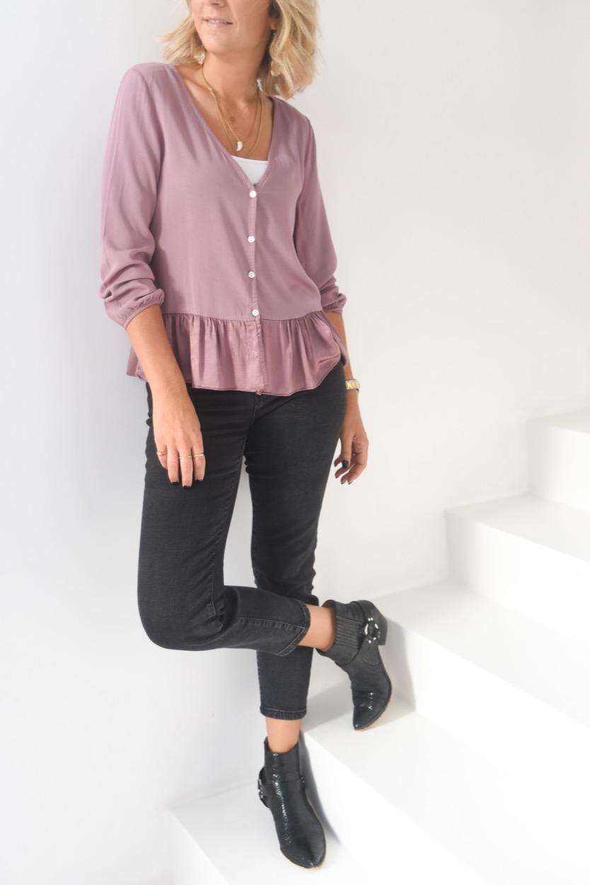blusa lilás folho cetim