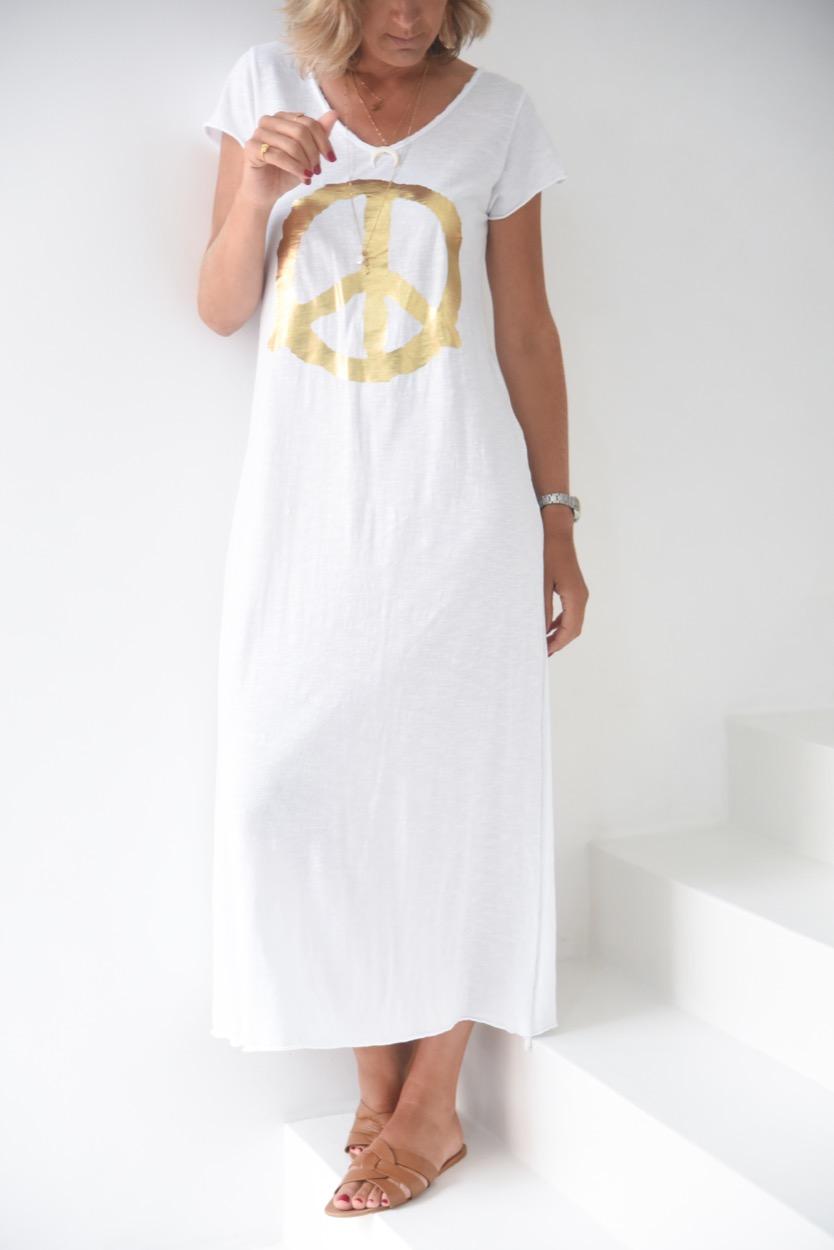 vestido simbolo paz dourado