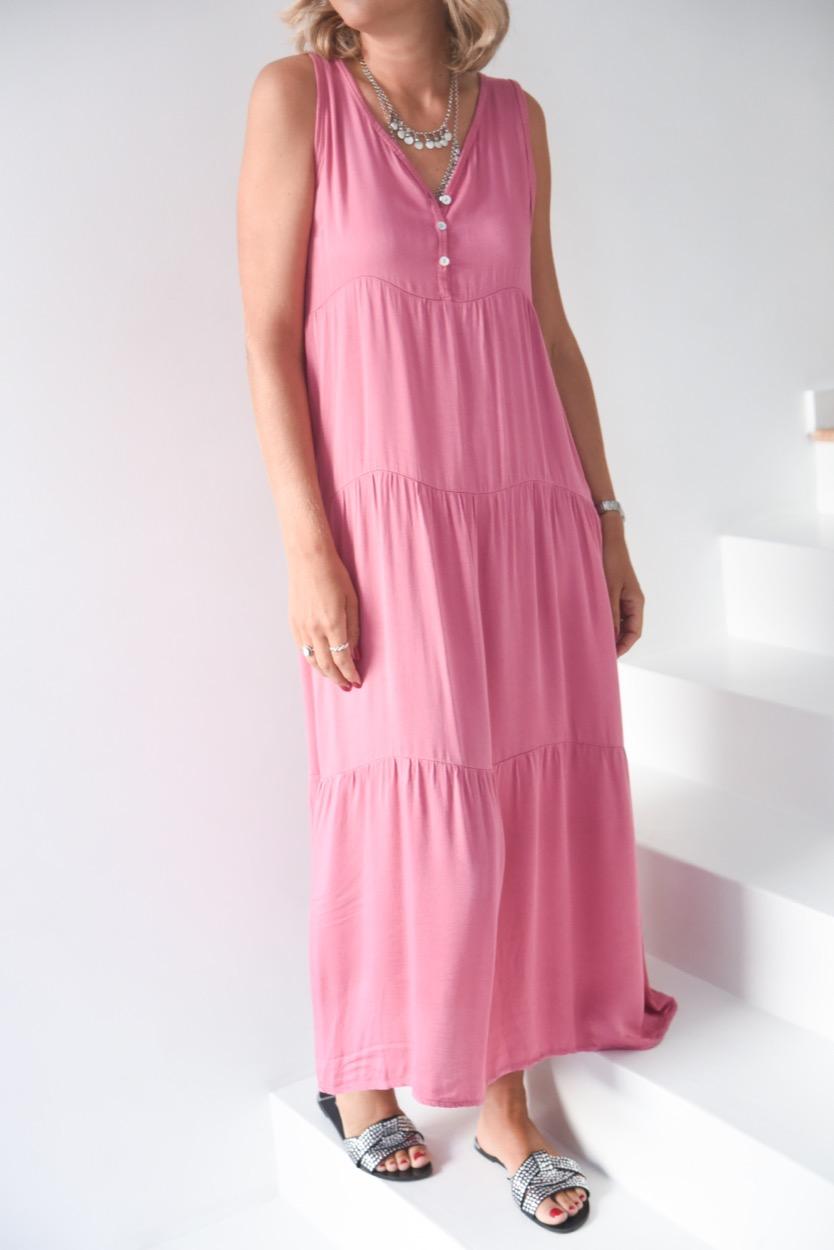 vestido comprido botões decote