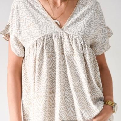 blusa camel estamp folho