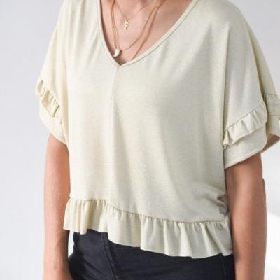 blusa dourada folho