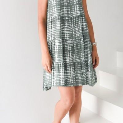 vestido verde seco curto camadas estampado