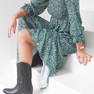 vestido verde pontos