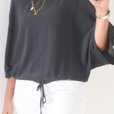 blusa cinza atilho frente