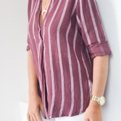camisa linho vinho risca