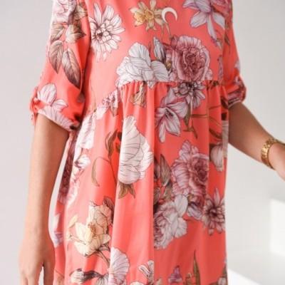 vestido coral flores