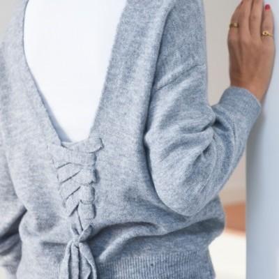 camisola gola alta cinza fitas costas