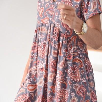 vestido cornucópias cinza/ coral