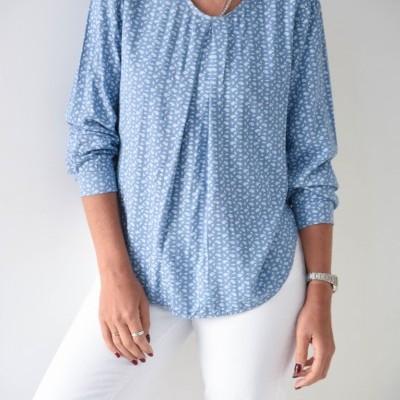 blusa azul cornucópias