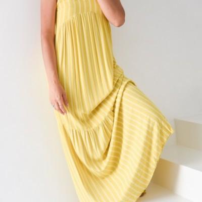 vestido alças amarelo riscas